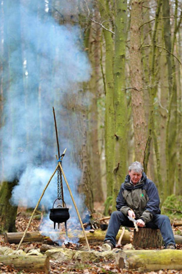 Gazette & Herald: Forestry Commission ranger Mark Barker deep in Dalby Forest preparing for his latest bushcraft course