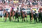 A thrilling finish to the Investec Dash at Epsom on Derby day sees Tim Easterby's Captain Dunne (left), ridden by David Allan, just pip stablemate Confessional (fourth from left) for first place.