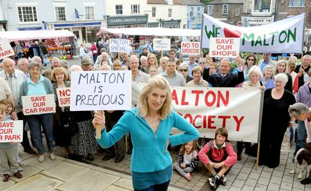 TV presenter Selina Scott, who led protests in Malton over the development of Wentworth Street car park into a supermarket last year