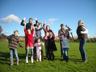 Children and members of Wrelton, Middleton  and Aislaby Play Area Committee as they celebrated winning their Playbuilder grant