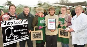 Stallholders on Hovingham village market celebrate winning a Rural Oscar. Pictured, from left, are Pete Stark, Richard Wood, Daniella Colquhoun, Mark Woolley, Jade Delaney and Peter Thundercliffe.