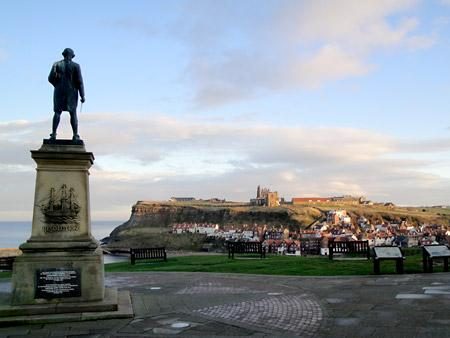 Whitby harbour and the Abbey from the Captain Cook monument. By Robin Denton, York.