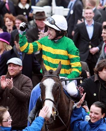 Tony McCoy celebrates Gold Cup victory on Synchronised