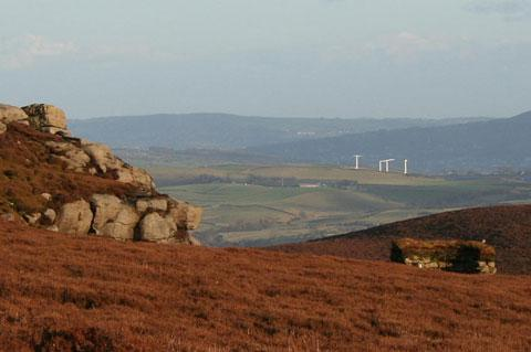 Wind turbines plus Deer Gallows Crag plus grouse butt