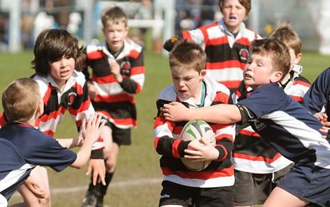 Malton U9s in action against Wilmslow during the York Festival at Clifton Park