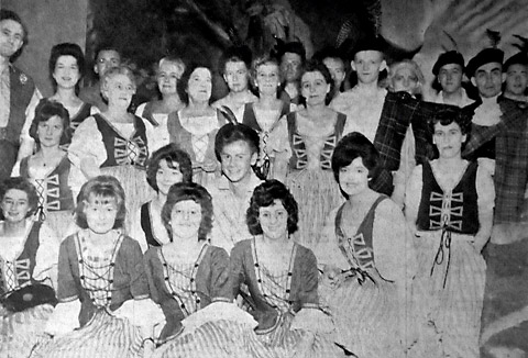 The chorus of the Pickering Musical Society production of Brigadoon in the Memorial Hall
