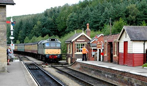 A train leaves Levisham station
