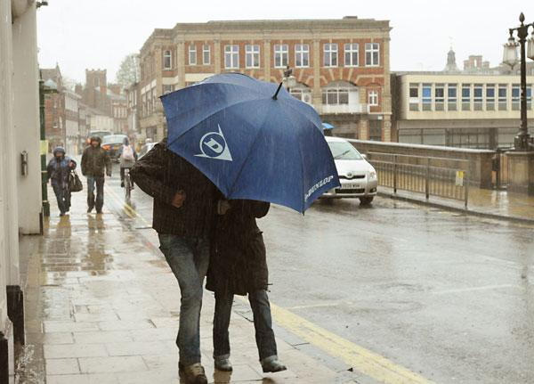 Shoppers brave the recent heavy rain in York