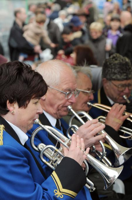 The Malton White Star band entertain visitors.