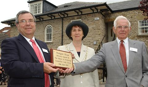 Richard Pacey, left,  pictured in 2003 at the opening of the Wilf Ward Family Trust's new Pickering centre with the mayor at the time, Judy Dixon, and Wilf Ward