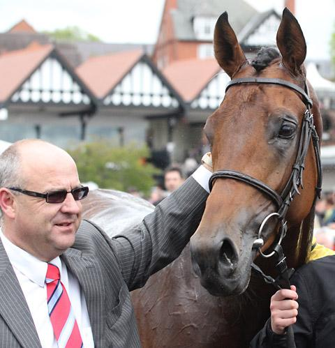 Richard Fahey with his Derby hope Mickdaam, after their Chester Vase triumph