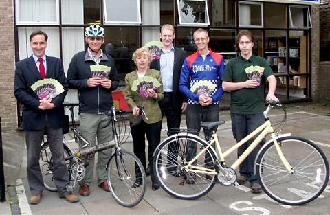 At the cycle route launch, from left, Roddy Bushell, Rupert Douglas, County Coun Clare Wood, Craig Nattress, Matthew  Enticknap of Malton Wheelers and Lyndon James of Yates Cycles, Malton