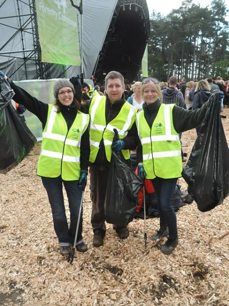 Volunteer litter pickers Natalie, left, Pete and Sally at Dalby Forest, on Friday night