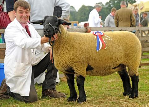 David Aconley, of West Knapton, with his champion Suffolk ewe
