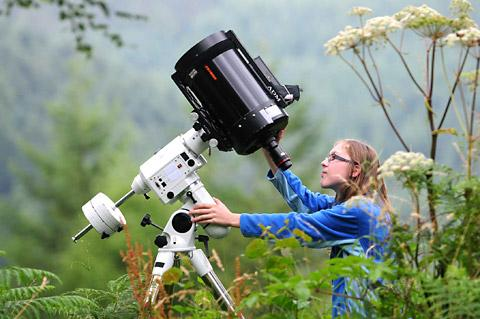 13-year-old Alicia Jeffrey prepares for the star-gazing and bat events at Dalby Forest