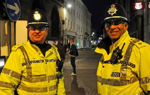 PC Peter McCreedy, left, and Supt Javad Ali, on patrol in Spurriergate, York. Both are retiring after 30 years with North Yorkshire Police