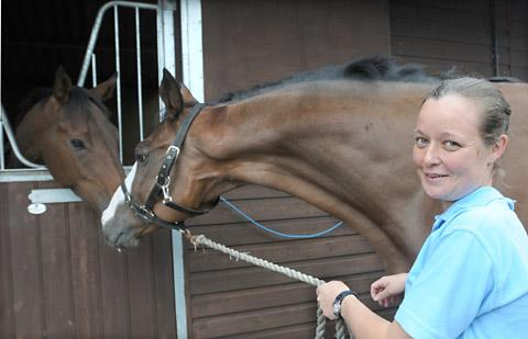 Suzanne France at her Newstart Racing  stables in Norton