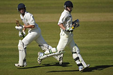 Woodhouse Grange batsman Tom Young, right, piles on the runs to get his side to a reasonable total against Reed at Lord's