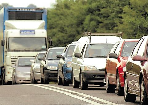 Traffic queues on the A64 near Malton which Coun Janet Sanderson would like to see upgraded