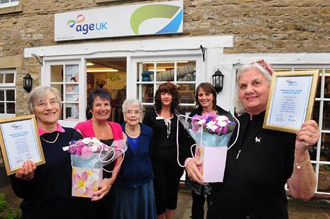 Long serving staff and managers at AGE UK Helmsley, Margaret Beaumont, Dottie Summersgill, Rachel Petch, Avril Tayler, Denise Redhead and Ann Burnell