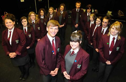Norton College head boy Dom Weatherill and head girl, Hope Lavery, alongide their senior team