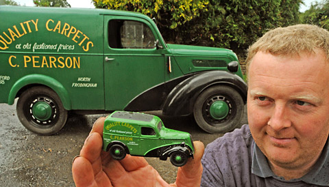Paul Mathewson with the 1951 Ford Model 8 van which is going to auction from the Mathewson garage in Thornton-le-Dale. Paul is holding the  Corgi model of the van.