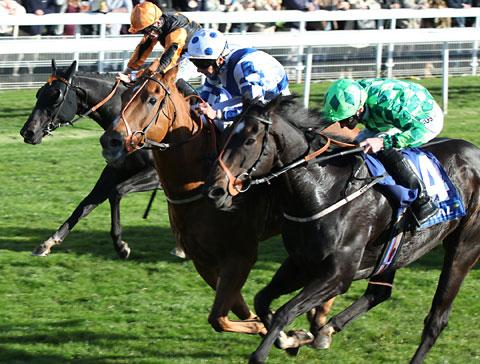 Regal Parade,  ridden by Matthew Lawson,  centre, needs a photo-finish to win the Coral Sprint Trophy at York Racecourse ahead of Louis The Pious, right, and Sirius Prospect, left