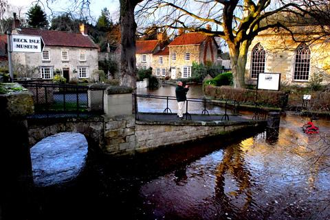 Flood water rises near Beck Isle Museum in Pickering