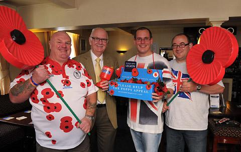 Shaun Brosnan, left, and Paul Farndale, launch the poppy appeal with Cliff and Rob Umpleby at The New Globe pub