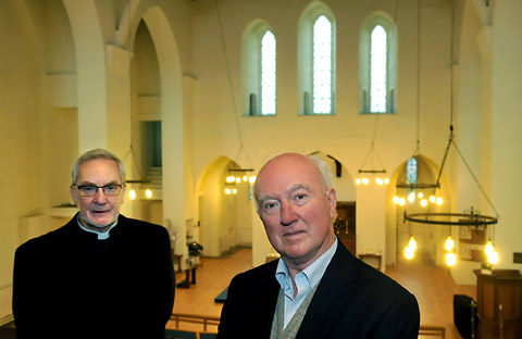 Peter Lawrence, right,  at St Chad's Church with Canon Simon Stanley
