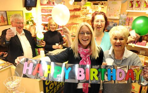 Staff at the Oxfam branch in Helmsley celebrate the shop's first anniversary, John Dean, Jan Wainwright, Jo Thackwray, Violet Smith and Ann Mulholland