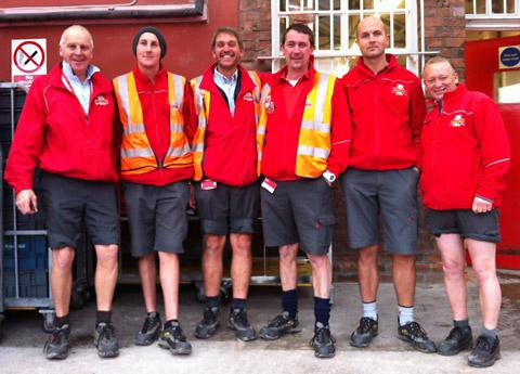 The postmen taking part in the shorts challenge are Paul Ballantyne, Chris Cooke, Clive Mills, Barry Hood, Michael Allen along with Andy.