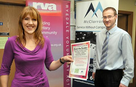 Sarah Lally-Marley of Ryedale Voluntary Action, and Jonathan Copley of McClarrons launch Meet The Funder  event