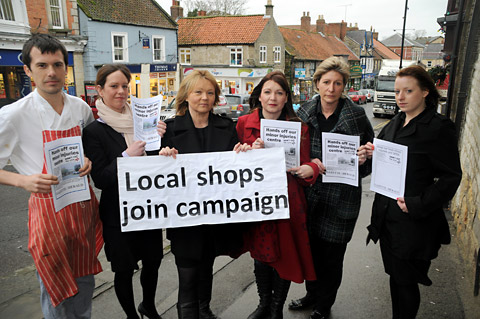 Pictured from the left are Tom Marley, Sarah Beal, campaign organiser Coun Lindsey Burr, Sharon Hornby, Catherine Feather and Jeanette Walls