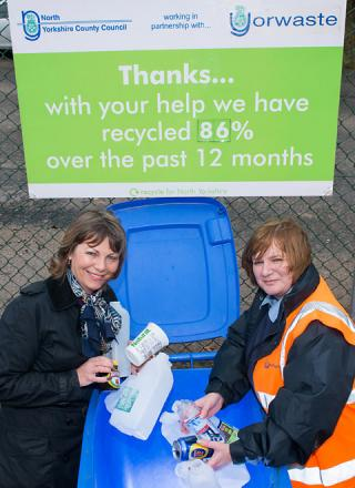 Coun Janet Sanderson, left, with site  manager Debbie Swindells at the Thornton-le-Dale  household waste recycling centre