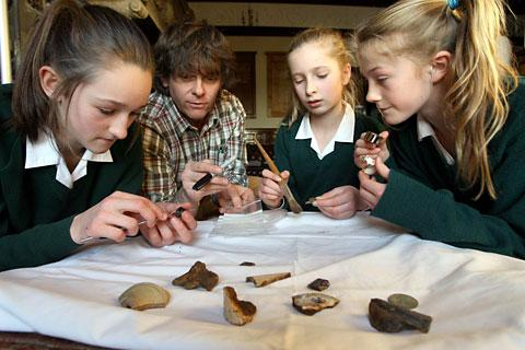 Pictured at the archaeology project at Queen Mary's School, in Topcliffe, near Thirsk, are, from left, Aemelia Crouch, community archaeologist Kev Cale, Ella Strickland and Grace Maddan
