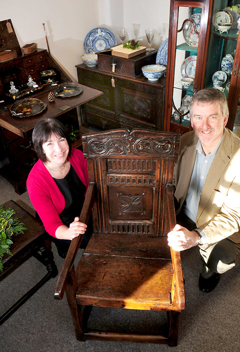 Judy and Steve Frane in their new shop,  Room For Antiques in Helmsley