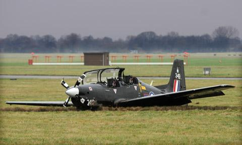 A trainee pilot and an instructor walked away unhurt  from this crashed Tucano at RAF Linton-on-Ouse
