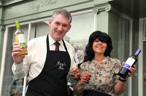 Rory Queen and Jackie Scott  outside Rory's new bar in Malton's Market Place
