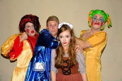 The Ugly Sisters, Britney and Kylie, played by Mark Boler and Neil Paylor,  with Cinderella (Ria Williams) and Buttons (Josh Milner)