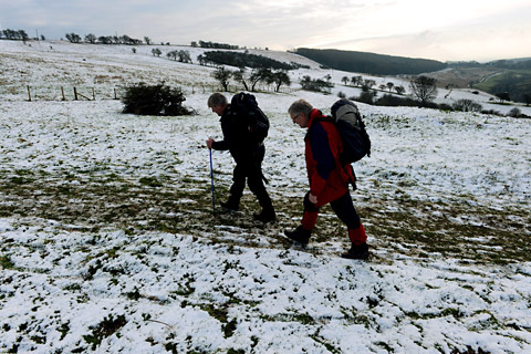 Snow on the high ground of the Yorkshire Wolds at Millington Pastures, near Pocklington, gives walkers a taste of the winter weather and snow that is forecast to affect many areas of the UK in coming days