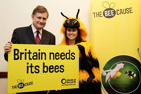 MP Hugh Bayley with the giant bumble bee