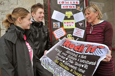 Getting ready for the opening of Rock It are, from left, Jenny Roberts, 12, Michael Abbott, 14, with organiser Ruth Leeming