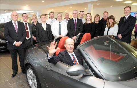 Michael Hetherton, who is retiring from the BMW garage after 44 years, bids farewell to staff