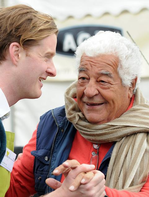 Tom Naylor-Leyland welcoming Antonio Carluccio to last year's Malton Food Lovers Festival