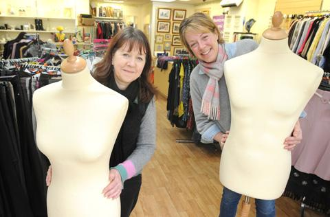 Kay Johnson, left, and Zoe Browne from the Mind Shop, Wheelgate, Malton, who are appealing for more stock