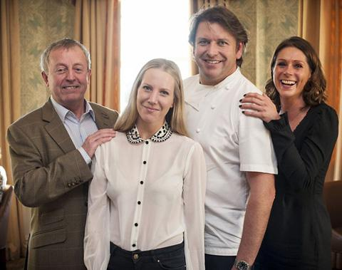 Rob Davies, Ryedale Special Families fundraising co-ordinator, left, with, from left, honorary patron Alice Naylor-Leyland, chef James Martin and one of the RSF trustees Diana Gough