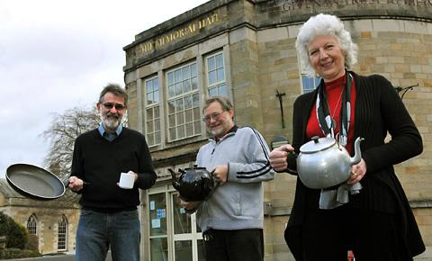 June Haighton, right, gets ready for the celebratory coffee  morning at Pickering Memorial Halls on Saturday with  Tony Danks and Alan Smith