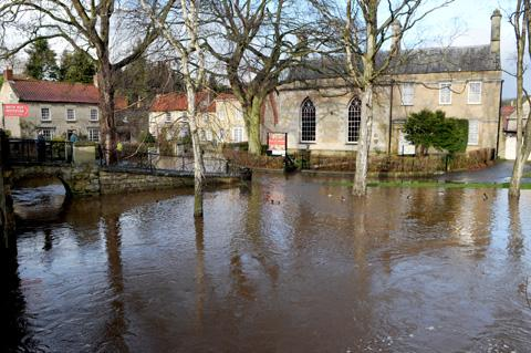 Flood waters edge closer to Beck Isle Museum in Pickering during November's heavy rain