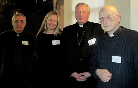 Father Tim Bywater, left, parish priest at St Leonard & St Mary's RC Church, Malton, Victoria Elms of the Prince's Countryside Fund, the Rt Rev Terence Drainey, Bishop of Middlesbrough and delegate Father Robert Miller, of Clifton